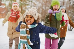 foster children enjoying winter day